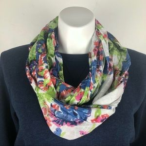 J. Jill Infinity Scarf Floral Blue, White & Pink
